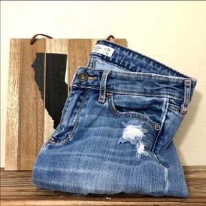 A&F Ripped Jeans Distressed Blue Acid Wash Grunge